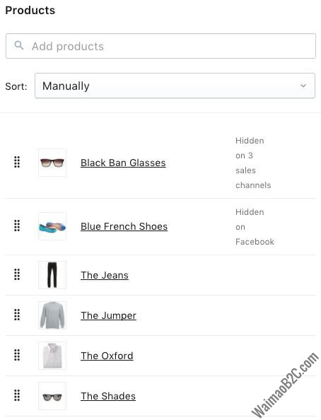 Shopify产品排序